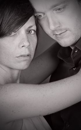 togther: Black and White Shot of a Pensive Couple