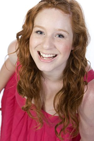Studio Shot of an Attractive Red Headed Teenager photo