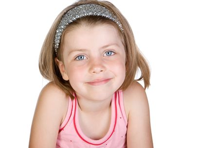hairband: Shot of a Cute Blonde Child against White Background