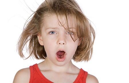 windswept: Shot of a Cute Child with Windswept Hair Stock Photo