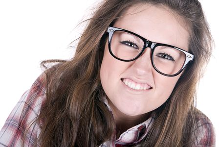 sneer: Funny Shot of an Attractive Female Geek on White Background
