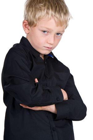 resistence: Shot of a Young Blonde Boy with Crossed Arms