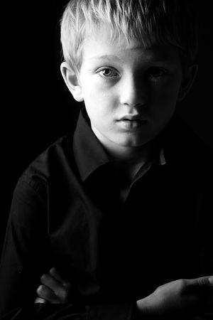 blonde boy: Black and White Shot of a Sad Blonde Boy