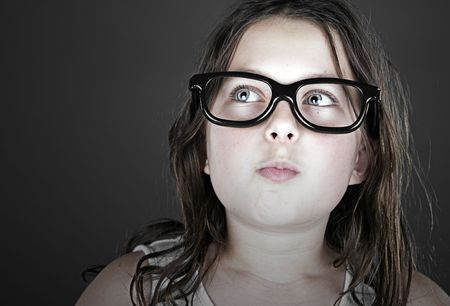 geeky: Funny Shot of a Cute Child Geek