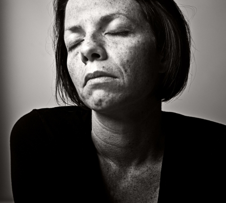 Powerful Black and White Shot of a Broken Woman Stock Photo - 6156745