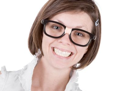 teethy: Shot of a Cute Geeky Female with a Big Cheesy Grin