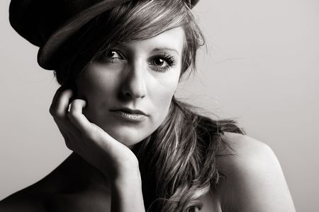 Striking Monochromatic Shot of a Beautiful Model photo