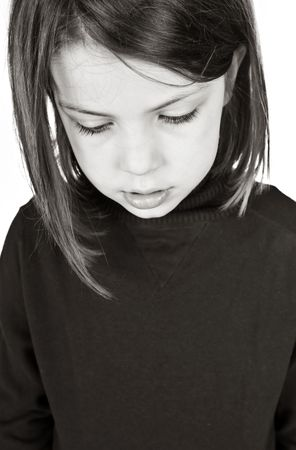 casualty: Closeup Shot of an Upset Young Child Stock Photo