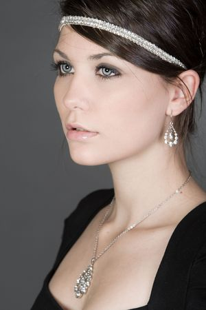 stunning: Shot of a Stunning Teenage Girl in Diamond Necklace