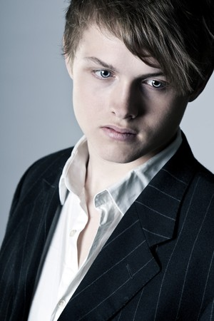pinstripe: Shot of a Handsome Teenage Boy in Suit and Shirt