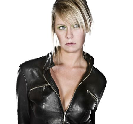 Shot of a Sexy Blonde GIrl in Leather Jacket Stock Photo - 8021023