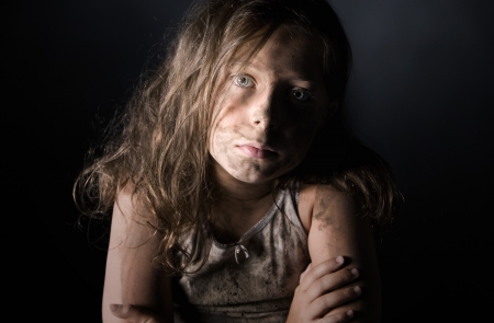 homeless children: Low Key Shot of a Filthy Child