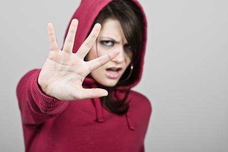 hoody: С капюшоном Девушка держит руку вверх - СТОП