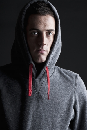hooded top: Shot of a Young Male in Hooded Top Stock Photo
