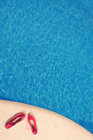 swimming shoes: Shoes by Swimming Pool