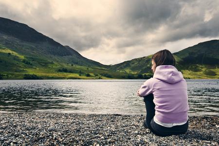 thirties: Woman by Crummock Water, Lake District.
