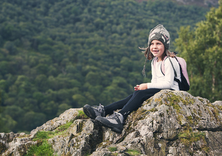 Shot of a Young Hiking Girl in the Lake District photo