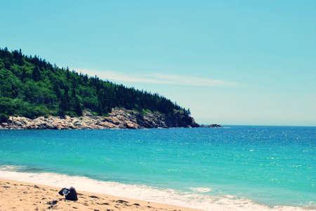 Beach Bag on Sandy Beach in Maine Acadia National Park