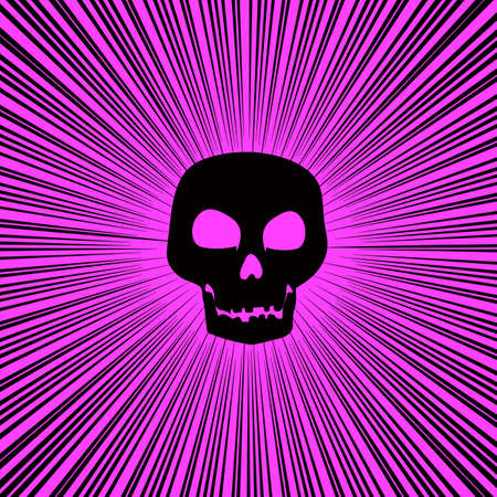 Bright pink background with converging lines and a skull silhouette.