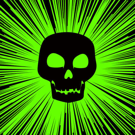 Neon Green background with converging lines and a skull silhouette. 免版税图像
