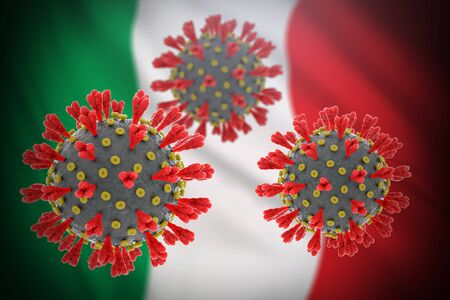 Concept of pandemic novel coronavirus outbreak in Italy. SARS-CoV-2, causing COVID-19 disease. Detailed 3D render of a infectious virus with flag behind. Contagious illness in Europe.