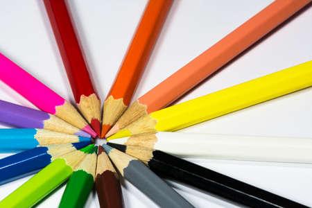 Some colour pencils in the circle Stok Fotoğraf