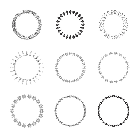 frameworks: Set of round and circular decorative patterns for design frameworks and banners. Vector illustration