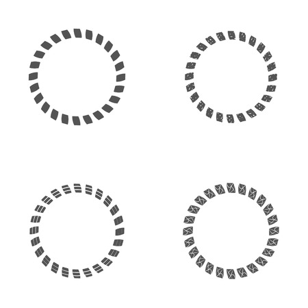 frameworks: Set of round and circular frame for design frameworks and banners. Black and white