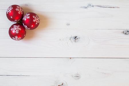 Christamas balls on a white wooden background Stok Fotoğraf