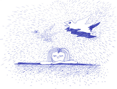 A girl and a flying bird, illustration