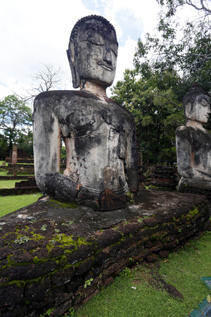 archaeological site: Buddha statue in Archaeological site, Kampangpetch, Thailand. Stock Photo