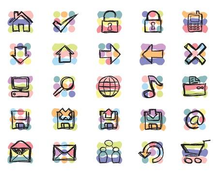 sketched icons: Esbozados web de mano y iconos relacionadas con la inform�tica