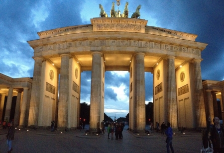The Brandenburg Gate built between 1788 and 1791 is now one of the biggest tourist attractions in Berlin Germany.