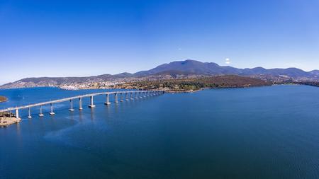 Amazing aerial photo of the Tasman Bridge, Hobart, Derwent River and Mount Wellington Stock Photo