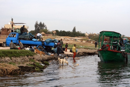 Garbage separation on Nil river near Luxor,Egypt