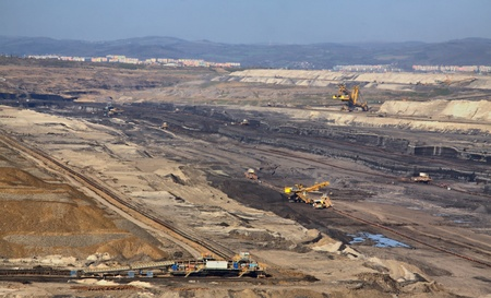 Machines in  strip coal mine