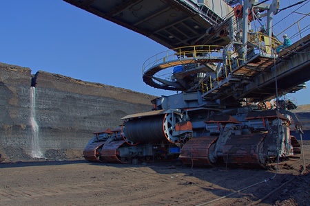 Chassis of coal loader machine in the mine