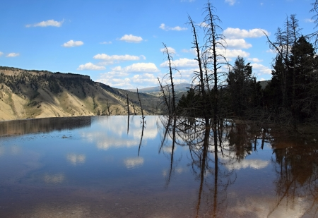 Lake on the top in Grand Canyon of Yellowstone NP