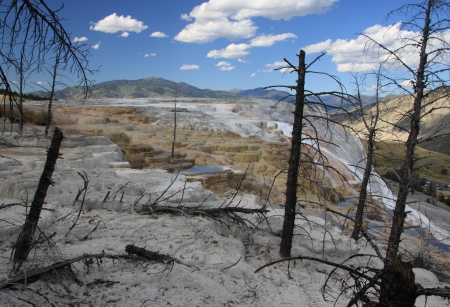 Travertine terrace and small lakes at Mammoth Hot Springs in Yellowstone National Park, Wyoming