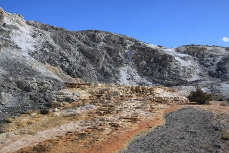 Travertine terrace at Mammoth Hot Springs in Yellowstone National Park, Wyoming