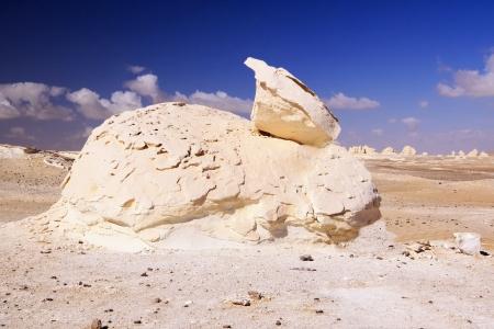The rock formation like as rabbit in White desert,Egypt Stock Photo