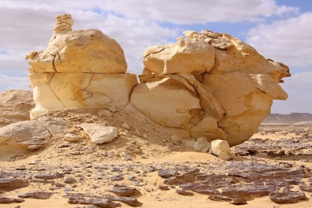 Wind ,sun and sand modeled limestones sculptures in white desert