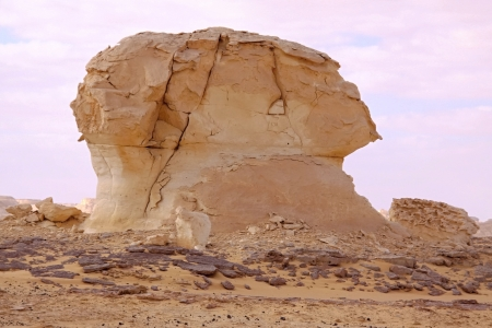Wind and sand modeled rock sculptures in White desert  photo