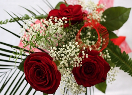 Red roses and little whitte flowers with green leafs Stock Photo