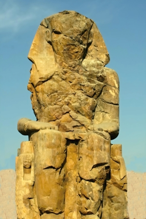 One of the two ruined statues of the Colossi of Memnon