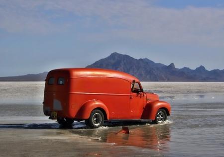 dragster: Flooded Bonneville Salt Flats in Utah with the dragster