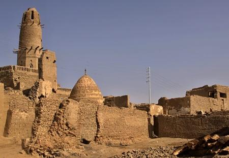 Scenery of Al-Qasr with minaret, a village in the Dakhla Oasis in Egypt