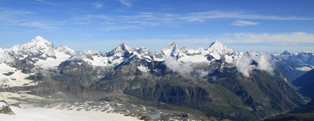 Amazing view of tourist trail near the Matterhorn in the Swiss Alps