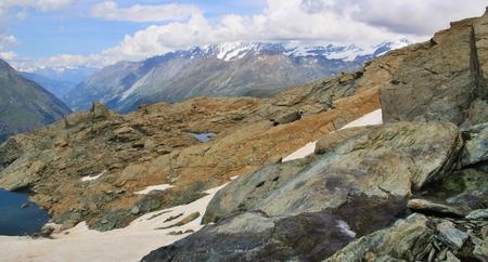 Beautiful  Alpine mountain view on  Swiss Alps  Stock Photo