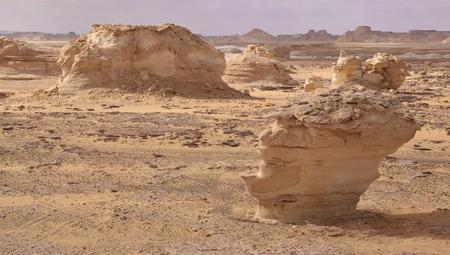 The limestone formation rocks in the White Desert, Egypt  Stock Photo